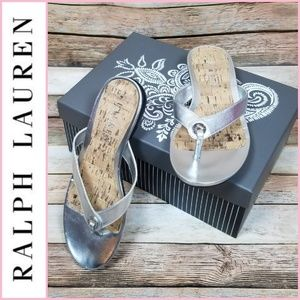 NEW Ralph Lauren Kira Metallic Silver Sandals